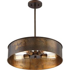 251 first river station weathered brass fourlight industrial drum pendant