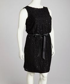 Take a look at this Black Lace Dress - Plus by R Richards on #zulily today!