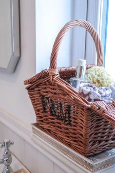 Fortnum & Mason hamper in the bathroom Mason Homes, Hamper Basket, Baskets, Uni Room, Fortnum And Mason, Nautical Bathrooms, Basket Decoration, Beautiful Bathrooms, Interior Styling