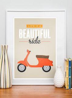 Vespa poster Qute, Inspirational art, life is beautiful, beige retro print, pop art, original art, Life is a beautiful ride A3. $22.00, via Etsy.