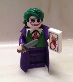 Lego Batman Joker Dark Knight Custom Minifigure w Card Knife Minifig Rises Bane Lego Minifigs, Lego Ninjago, Lego Dc, Lego Batman, Joker Dark Knight, Lego Knights, Lego People, Batman Birthday, Green Toys