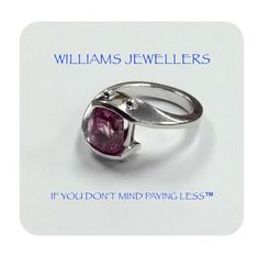 10K white gold ring with a pink sapphire #williamsjewellerstoronto
