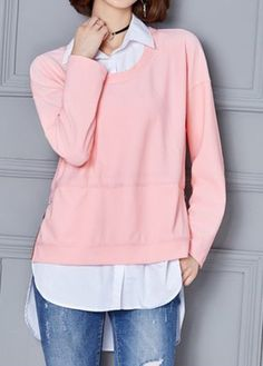 Asymmetric Hem Zipper Side Faux Two Piece Blouse, high quality and better service, check it out.