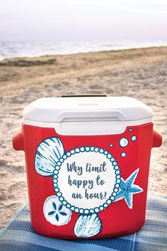 Painted Beach Cooler with Quote - Project by DecoArt Hand-painted Lilly Pulitzer-Inspired Beach Cooler with Quote Diy Cooler, Coolest Cooler, Beach Cooler, Beach Fun, Fraternity Coolers, Frat Coolers, Sorority Canvas, Sorority Paddles, Sorority Recruitment