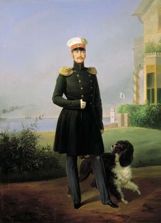 Nicholas I of Russia with dog by G.Botmann.