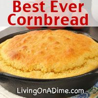 Best Ever Easy Cornbread Recipe. You can make this for just $!.50. It's moist and sweet and can be used for any recipes including stuffing that call for cornbread!  Our family will ONLY eat this cornbread!