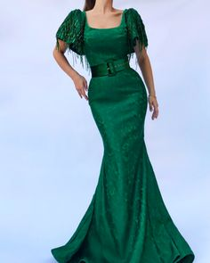 Details - Dark green Color - Designed Taft fabric - Handmade embroidery details - Sirene style with waist definition - Evening and party dress Types Of Dresses, Nice Dresses, Amazing Dresses, Evening Dresses, Prom Dresses, Formal Dresses, Wedding Dresses, Emerald Green Dresses, Beautiful Outfits