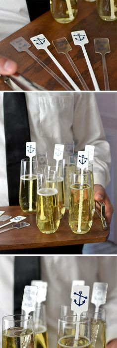 Personalize your signature wedding drinks and cocktails with stir stick favors. Plastic or wood cocktail stirring sticks personalized with a design, monogram or the bride and groom's initials make interesting conversation starters as guests mingle during cocktail hour. Also known as drink swizzles, these personalized stir sticks can be ordered at http://myweddingreceptionideas.com/personalized_swizzle_sticks_drink_stirrers.asp