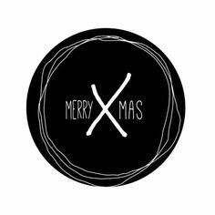 Hippe, eenvoudige  kerstkaart in zwart-wit met tekst: Merry x-mas