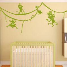 Beautiful #Nursery #WallSticker Baby Room Wall Stickers, Nursery Wall Decals, Nursery Room, Kids Wall Decor, Room Decor, Funky Design, Monkeys, Kids Room, Beautiful