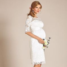 @tiffanyrosematernity White Hot! Beloved by pregnant celebrities bestselling Amelia lace maternity dress fabulous in in every colour is most-loved in crisp ivory. Discover the Amelia now via the link in their bio.