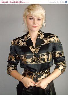 50s asian brocade jacket / military motif / very long back sash