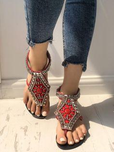 564ae4331 Women Bohemian Style Sandals Casual Beach Pearls Shoes