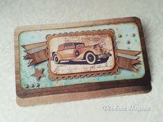 Vintage Vehicle Car Birthday Card, Envelope Card, Handmade card male, steampunk