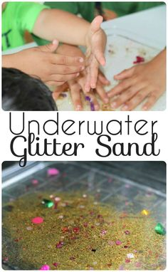 Underwater glitter sand sensory tray - calming and relaxing and can be used for fine motor activities and mark making too. Sensory Table, Baby Sensory, Sensory Bins, Sensory Play, Sand Play, Water Play, Sensory Activities, Preschool Activities, Nursery Activities