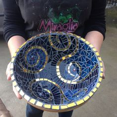 Mosaic bowl by Bronwyn, gift for her daughter.