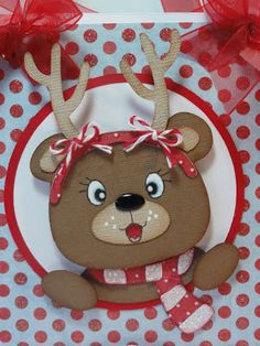 adorable reindeer - to be used on a card -   SUPPLIES  My Craft Spot- Mistletoe stamp set and Cherry Divine Twine  Peachy Keen- PK-110 Here Kitty Kitty Face Assortment  Cricut- Teddy Bear Parade and George and Basic Shapes  - bjl