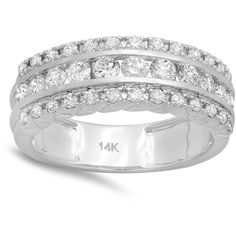 14k White Gold 1ct TDW Round Diamond Bridal Engagement Wedding... ($981) ❤ liked on Polyvore featuring jewelry, rings, white gold band ring, bridal rings, wide-band rings, wedding band rings and round diamond ring