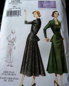 1950s VOGUE VINTAGE MODEL DRESS SEWING PATTERN V8768 12-14-16-18 UNCUT