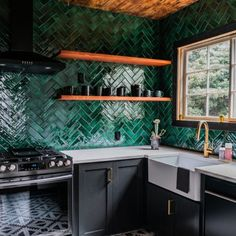 Searching for a durable subway tile? Glazed Thin Brick Forest is a best addition to your kitchen area backplash, bathroom, fireplace, or even commercial project. Funky Kitchen, Teal Kitchen, Kitchen Tiles, Home Decor Kitchen, Interior Design Kitchen, Home Kitchens, Green Tile Backsplash, Kitchen Brick, Green Tiles