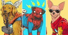 Así se verían los perros, si fueran superheróes de Marvel, según la mirada de Josh Lynch.