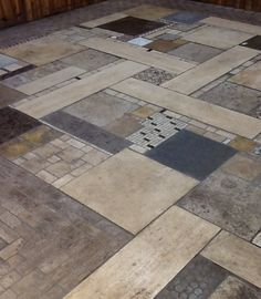 Custom Mosaic floor created from remnant tile pieces found at ReStore - Upcycled and artfully distressed. Mosaic Pots, Mosaic Diy, Floor Design, Tile Design, Deck Flooring, Flooring Ideas, Floor Rugs, Tile Floor, Porch Tile