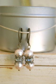 Catherine. vintage pearl rhinestone earrings. Tiedupmemories