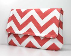 Coral and White Chevron Clutch