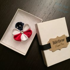 4th of July American Flag Kanzashi Flower Lapel Pin with Swarovski Clear Crystal /Independence Day Lapel Pin/ lapel pin flower