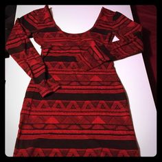 American apparel mini dress Red and black designed mini dress American Apparel Dresses Mini