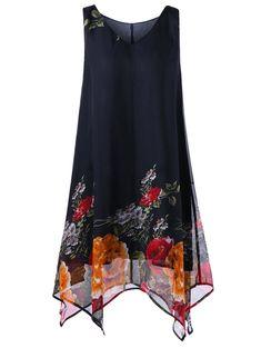 b6229c1069260 A Line Tunic V Neck Floral Plus Size Handkerchief Dress Fashion Site