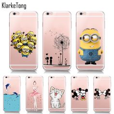 f6933fec275d Cute Minions Cat Mickey   Minnie Kiss Soft TPU Case For iphone X 6s 8 5s SE  7 6Plus Transparent Silicone Cover Fundas Capinhas-in Half-wrapped Case from  ...