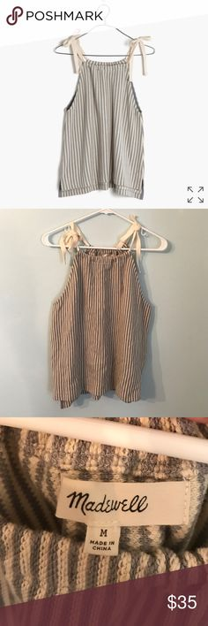 Madewell tempo tie-shoulder top super cute tank top in a gray and cream stripe! Worn once NWOT Madewell Tops Tank Tops