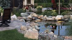 Jan 2019 - This beautiful garden ecosystem pond is in Hearthside Grove Luxury Motor Park in Petoskey,MI. It uses natural methods for filtration. Built by Waterpaw ponds in Northern Michigan Backyard Water Feature, Ponds Backyard, Garden Ponds, Koi Ponds, Garden Oasis, Water Garden, Pond Landscaping, Landscaping With Rocks, Pond Design