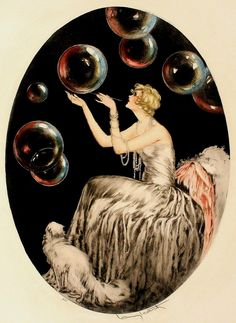 "Icart Print 24"" x 30"" Louis Icart Art Deco 20 30's Boudoir Women Cat ""Bubbles"" 
