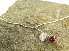 cherry ripe - silver and red freshwater pearl necklace €38 by LaPetiteMaisonBijoux