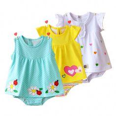 1258c44359f02 acheter Bébé Fille Barboteuses D été Coton Infantile Combinaisons Roupas  Bebes Coloré de Bande Dessinée Nouveau-Né Princesse Jupe Enfant Filles  Vêtements