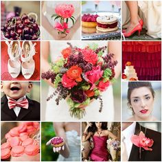 Coral & Raspberry Wedding. I keep getting drawn to berry colors and blues. I think I like how they make coral and teal - two very bright theme colors - seem more rich.
