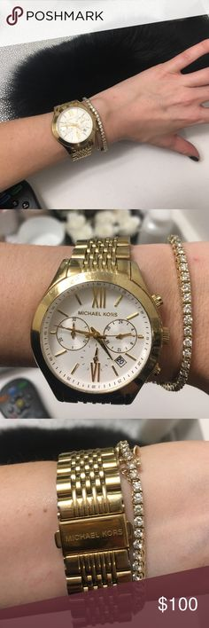 Michael Kors Watch *MLK Sale today Only* Gold MK watch in good condition. The face has some scratches, but you can barely tell. Michael Kors Accessories Watches