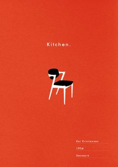 Kitchen art print Mid Century chair poster retro danish modern illustration typography via decorating before and after room design design Danish Modern, Wooden Office Chair, Kitchen Art, Kitchen Retro, Design Kitchen, Kitchen Tips, Mid Century Chair, Graphic Design Posters, Branding