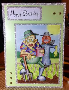 Greeting Card (7) - A5 Birthday Card. Topper from Hunkydory 'The Little Book of Golden Oldies' on card from stash
