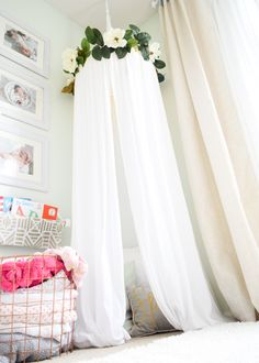 Baby Girl Nursery Inspiration // Floral Wallpaper // Vintage Nursery // Nursery Ideas // Nursery Decor // Light and Airy Nursery //High End Nursery //Reading nook // Book nook // Kids Reading Area // Canopy //
