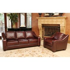 High resiliency foam cushions, corner-blocked joinery and a kiln-dried hardwood frame give this furniture set lasting appeal. You'll love the quilted burgundy top grain hand rubbed leather upholstery with hand-stitched details.