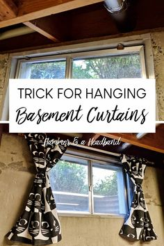 Are you having a hard time hanging curtains in your unfinished basement window?, Are you having a hard time hanging curtains in your unfinished basement window? Basement Remodel Diy, Basement Laundry, Basement Makeover, Basement Storage, Basement Renovations, Basement Ideas, Basement Plans, Basement Gym, Laundry Room