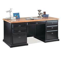 nice kathy ireland Home by Martin Southampton Double Pedestal Desk - Black