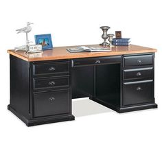 nice kathy ireland Home by Martin Southampton Double Pedestal Desk - Black