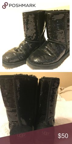 Uggs Black sequin ankle length uggs Shoes Winter & Rain Boots