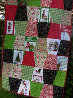 How The Grinch Stole Christmas Throw Quilt by WoodenNeedleNook, $198.00