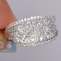 Womens 1.07 Carat Diamond Vintage Ornament Ring Band 14K White Gold