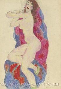 Akt mit roten Lippen, um 1919 Bleistift und Ölkreide auf Papier, 43 x 30 cm, Privatbesitz